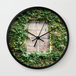 Window in the vines Wall Clock