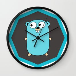 Golang Go cute Squirrel baby programming Mouse sticker Wall Clock