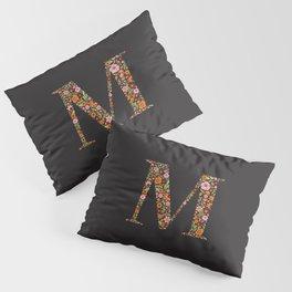 Retro Floral Letter M Pillow Sham