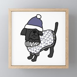 Cute dog wearing a hat and winter sweater Framed Mini Art Print