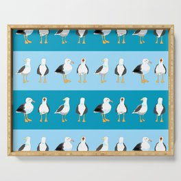 Seagulls nautical pattern boys room decor Serving Tray