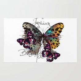 Fashion art print with colorful tropical butterly Rug