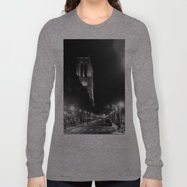 A View Looking Down the Rue D'Arcole at Notre Dame Cathedral, Paris, France Long Sleeve T-shirt