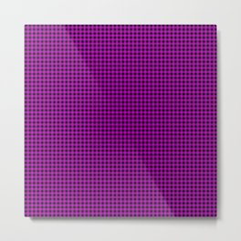 Zombie Purple and Black Halloween Gingham Check Metal Print