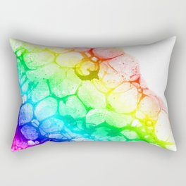 Watercolor rainbow abstract bubble splashing paint isolated on white background Rectangular Pillow