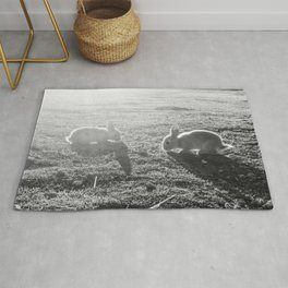 Bunny // Black and White Cute Nursery Photograph Adorable Baby Bunnies in the Field Rug