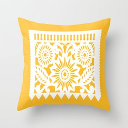OLE Papel Picado - square pillow - yellow Throw Pillow