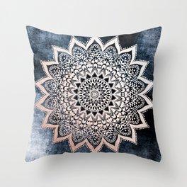 BLUE BOHO NIGHTS MANDALA Throw Pillow
