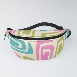 Mid Century Modern Cosmic Abstract 733 Pink Green and Blue Fanny Pack