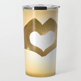 Hand Heart into the Sunset Travel Mug