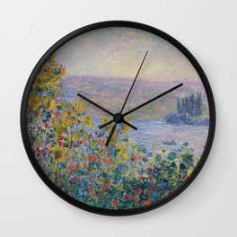 Flower Beds at Vetheuil by Claude Monet Wall Clock