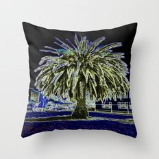 Magic night with Palm tree Throw Pillow