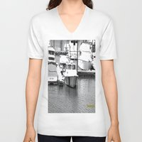 boats V-neck T-shirts featuring Boats BW by BeachStudio