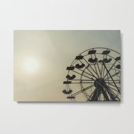 Ferris wheel in a Luna Park shortly before sunset in autumn Metal Print
