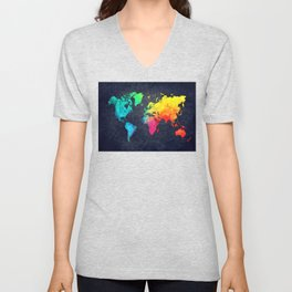 World map watercolor 6 Unisex V-Neck