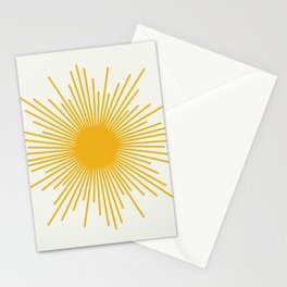 Mustard Yellow Retro Sun on Off-White Stationery Cards