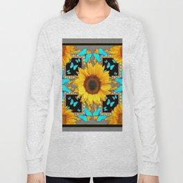 Southwest Sunflowers & Turquoise Butterflies Grey Art Long Sleeve T-shirt
