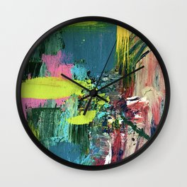 Excited: a vibrant, colorful, dynamic acrylic piece in various colors Wall Clock
