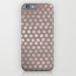 Simple Hand Painted Rosegold polkadots on gray background iPhone Case