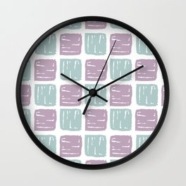 Watercolor lilac green abstract geometrical squares pattern Wall Clock