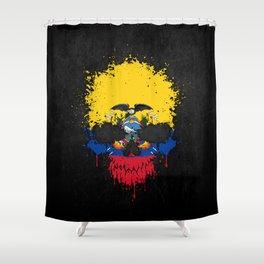 Flag of Ecuador on a Chaotic Splatter Skull Shower Curtain