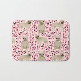 French Bulldog fawn coat cherry blossom florals dog pattern floral dog breeds Bath Mat