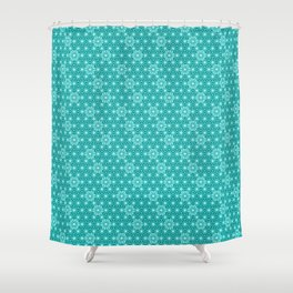 Japanese Asanoha or Star Pattern, Turquoise & Aqua Shower Curtain