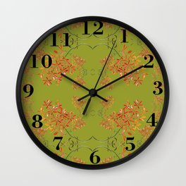 Orchids on Olive Green Wall Clock