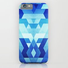 Abstract geometric triangle pattern (futuristic future symmetry) in ice blue iPhone 6s Slim Case