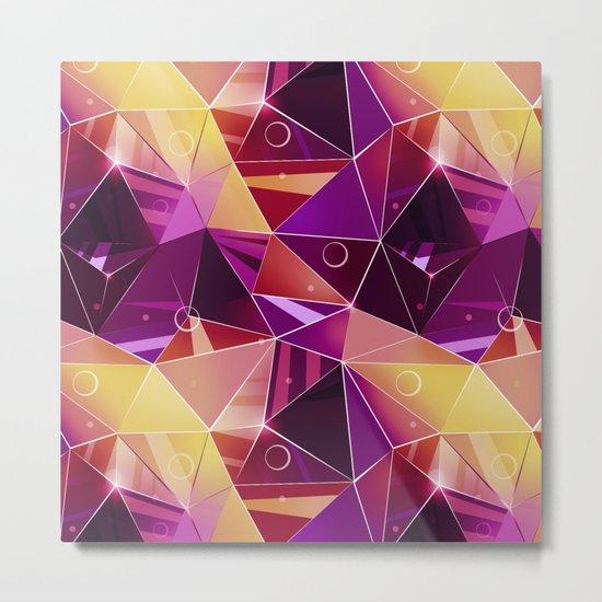 Polygonal pattern.Black, red, yellow, orange background. Metal Print
