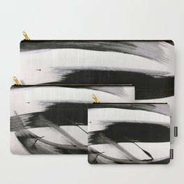 Brushstroke 9: a bold, minimal, black and white abstract piece Carry-All Pouch
