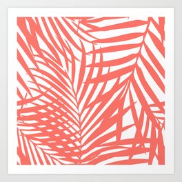 Palm Fronds in Living Coral Art Print