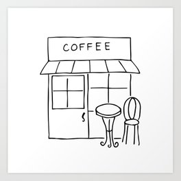 Little Coffee House // Cafe Sketch Art Print