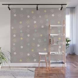 Pastel brown pink yellow Christmas snow flakes stars pattern Wall Mural