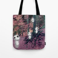 kodama Tote Bags featuring Kodama in the woods by pkarnold + The Cult Print Shop