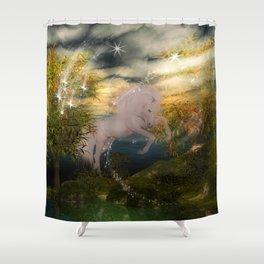 Einhorn im Wald Shower Curtain