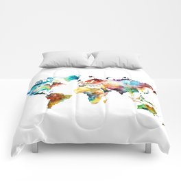 Colorful Watercolor World Map Comforters