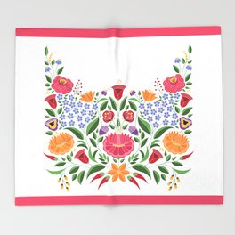 Hungarian folk pattern – Kalocsa embroidery flowers Throw Blanket