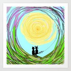 Kitty Cat Love Art Print