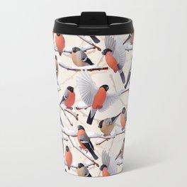 Bullfinches  seamless texture Travel Mug
