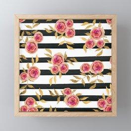 Girly Modern Pink Gold Flowers Black White Stripes Framed Mini Art Print
