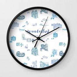 Wanderlust in Europe Wall Clock