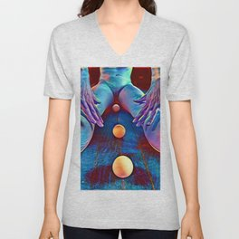 4997-AK Pastel Rendered Nude with Eggs Between Her Legs by Chris Maher Unisex V-Neck