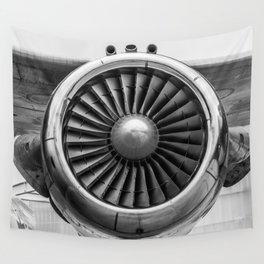 Vintage Airplane Turbine Engine Black and White Photography / black and white photographs Wall Tapestry