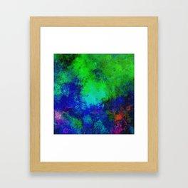 Awaken - Blue, green, abstract, textured painting Framed Art Print