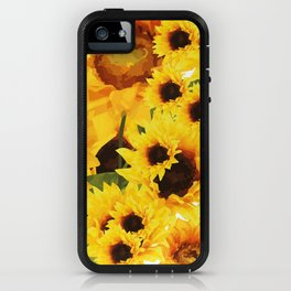 Wild yellow Sunflower Field Illustration iPhone Case