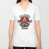 gym V-neck T-shirts featuring Sloth's gym by Buby87