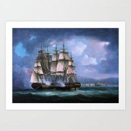 Hms Shannon Boards Uss Chesapeake Off Boston - Thomas Buttersworth Art Print