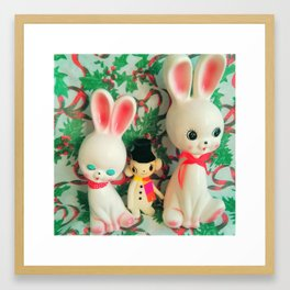 snow bunnies and snowman Framed Art Print