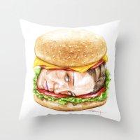 burger Throw Pillows featuring Burger by Creadoorm